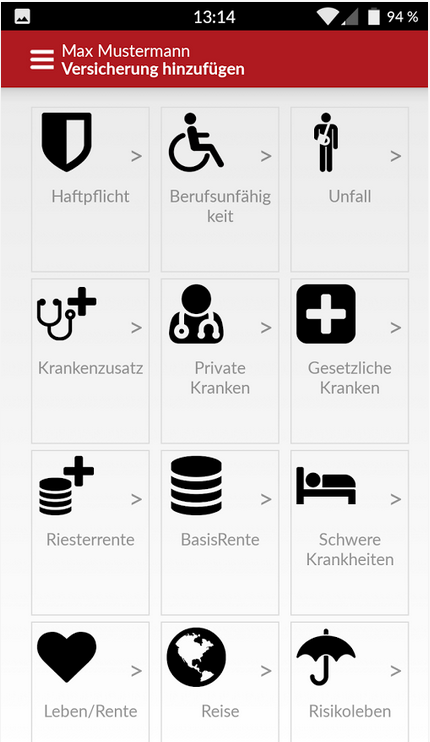 FinanceApp: Versicherungen